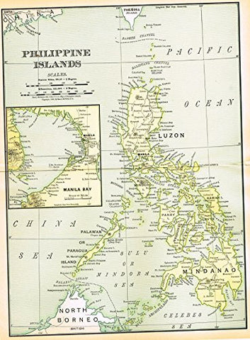 History of Our Country - Map - PHILIPPINE ISLANDS - Chromolithograph - 1899