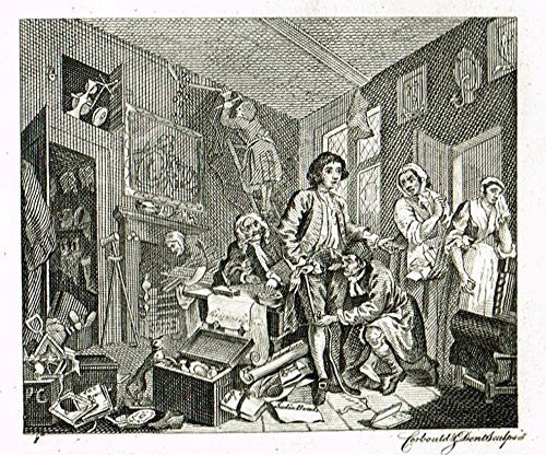 Hogarth's Illustrated - THE RAKE'S PROGRESS - PL. 1 - Antique Copper Engraving - 1813