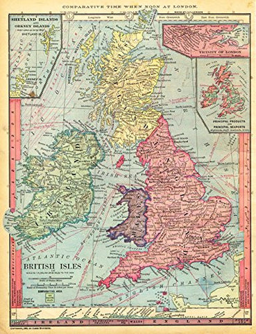 "Barnes's Geography - ""BRITISH ISLES"" Map by Monteith -1875"