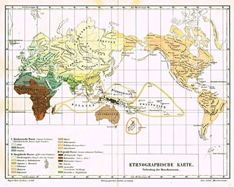 "Meyers' Lexicon Map - ""ETHNOGRAPHIC WORLD MAP"" - Chromolithograph - 1913"
