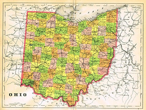 "Johnson's Universal Cyclopedia - ""OHIO"" - Hand-Colored Lithograph - 1896"