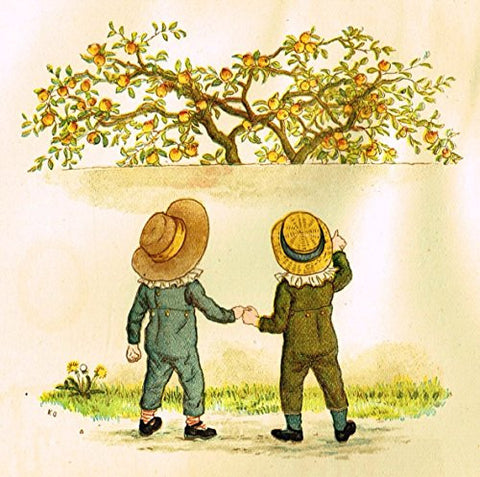 Kate Greenaway's Little Ann - BOYS EYEING PEACH TREE - Chromolithograph - 1883