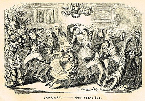 "Cruikshank's Comic Almanack - ""JANUARY - NEW YEAR'S EVE"" - Engraving - 1838"