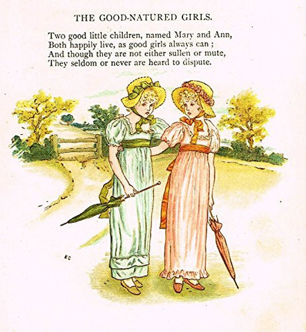 Kate Greenaway's Little Ann - THE GOOD NATURED GIRLS - Chromolithograph - 1883