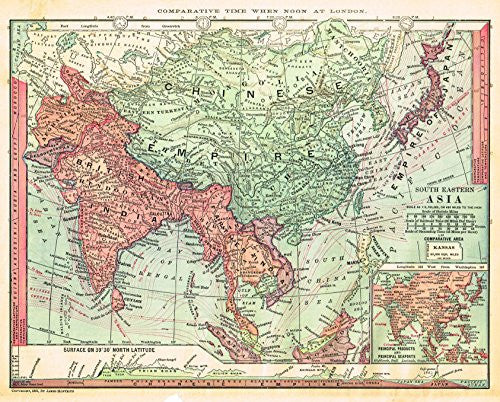 "Barnes's Geography - ""SOUTH EASTERN ASIA"" Chromolithographic Map by Monteith -1875"