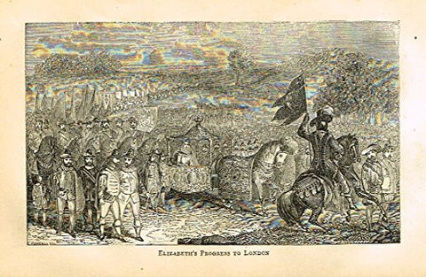 "Abott's Queen Elizabeth - ""ELIZABETH'S PROGRESS TO LONDON"" - Wood Engraving - 1869 - Sandtique-Rare-Prints and Maps"