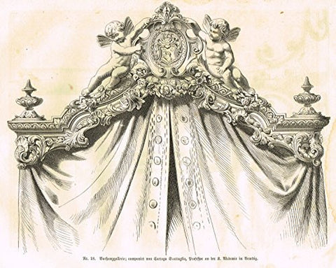 Baumer's 'Gewerbehalle'- CARVED HEADBOARD WITH PUTTI - c1870