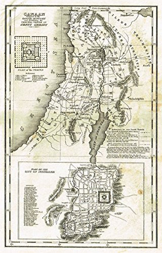 "Religious Map - ""CANAAN ADAPTED TO THE GOSPEL HISTORY"" - Copper Engraving - c1820"