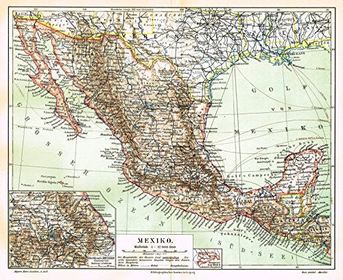 "Meyers' Lexicon Map - ""MEXICO"" - Chromolithograph - 1913"