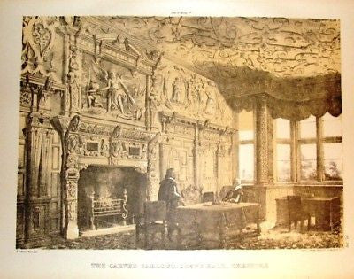 "THE CARVED PARLOUR - from ""Old English Mansions"" - c1895"