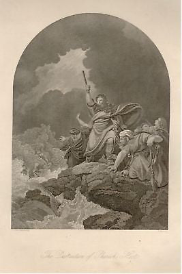 """DESTRUCTION OF PHAROH"" by Eadie -1875 -Steel Engraving"