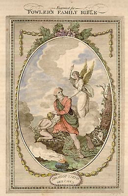 """ABRAHAM'S FAITH"" by Fowler - Hand Colored - 1807"