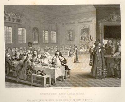 "Hogarth Engraving - 1861 - "" 'PRENTICE GROWN RICH"" - Engraving"