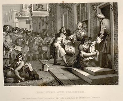 Hogarth Engraving - 1861 - INDUSTRIOUS 'PRENTICE MARRIES