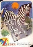 """At The Zoo""  by Trimmer - 1946 - ""ZEBRA & DEER"" - Sandtique-Rare-Prints and Maps"