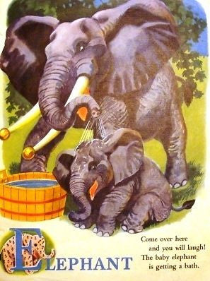 """At The Zoo""  by Trimmer - 1946 - ""DEER & ELEPHANTl"" - Sandtique-Rare-Prints and Maps"