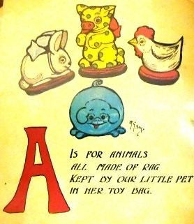 """Rag Animals A.B.C.""  by Hays - 1913 - ""FOUR TOYS"" - Sandtique-Rare-Prints and Maps"