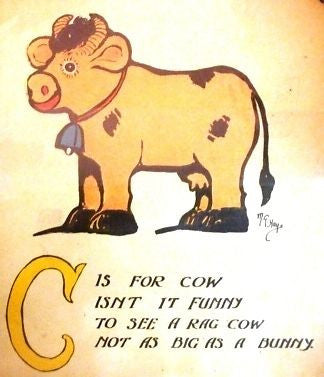 """Rag Animals A.B.C.""  by Hays - 1913 - ""MOO COW"" - Sandtique-Rare-Prints and Maps"