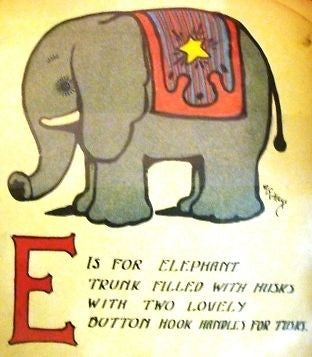 """Rag Animals A.B.C.""  by Hays - 1913 - ""ELEPHANT"" - Sandtique-Rare-Prints and Maps"