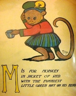 """Rag Animals A.B.C.""  by Hays - 1913 - ""MONKEY"" - Sandtique-Rare-Prints and Maps"