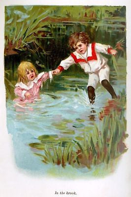 """Helen's Babies"" -1876- by Habberton ""IN THE BROOK"" - Sandtique-Rare-Prints and Maps"