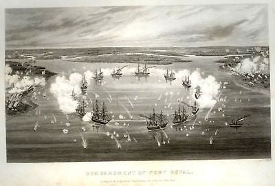 Abbott's Civil War -1865- BOMBARDMENT OF PORT ROYAL - Sandtique-Rare-Prints and Maps