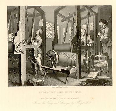 """APPRENTICES AT THEIR LOOMS"" by William Hogarth -1861"