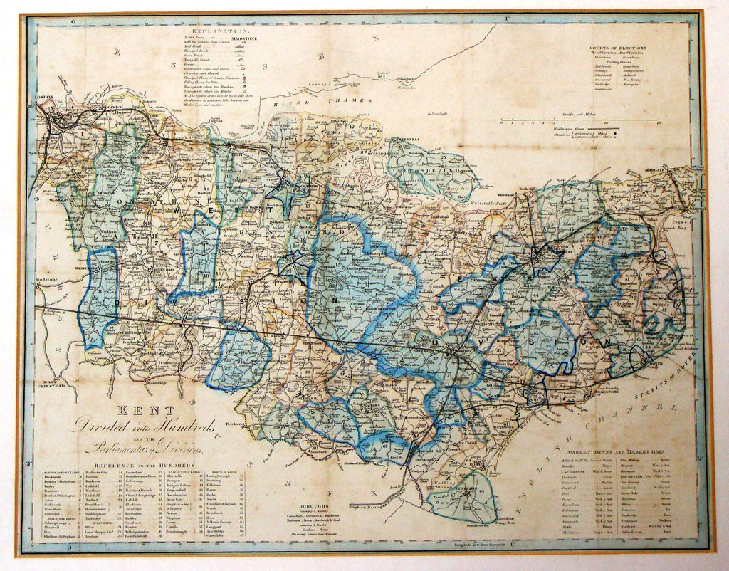 "Antique Map - Darton's ""KENT, DIVIDED INTO HUNDREDS"" - Hand Col'd Litho - 1848"
