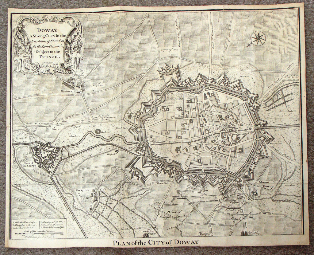 "Antique Map - Basire's ""PLAN OF THE CITY OF DOWAY"" (Netherlands)  - Copper Engraving - 1745"