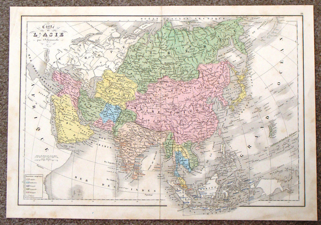 "Antique Map - Delamarche's ""CARTE DE L'ASIE"" - Hand Col'd Lithograph - 1843"