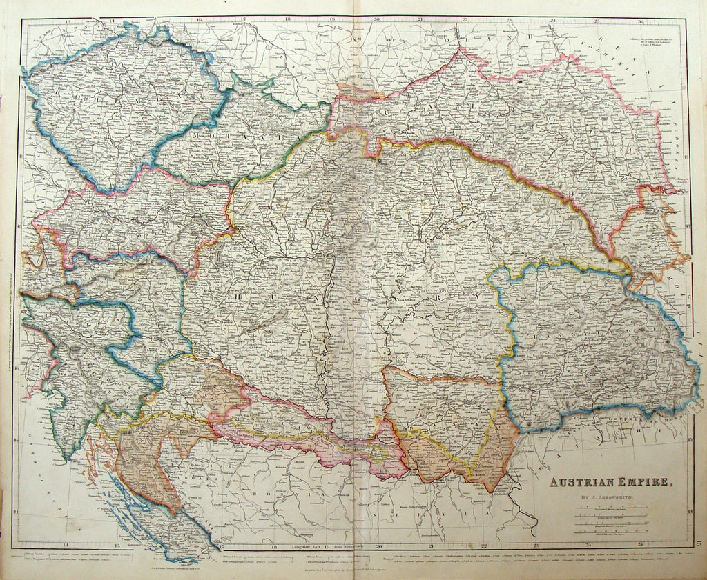 "Antique Map by Arrowsmith - ""AUSTRIAN EMPIRE"" - Coloured - 1842"