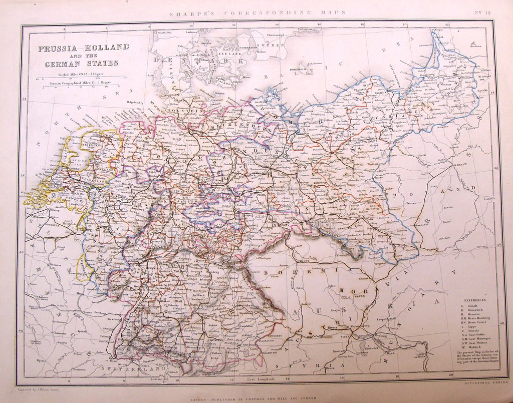"Antique Map by Lowry - ""PRUSSIA, HOLLAND AND THE GERMAN STATES"" - Coloured - 1849"