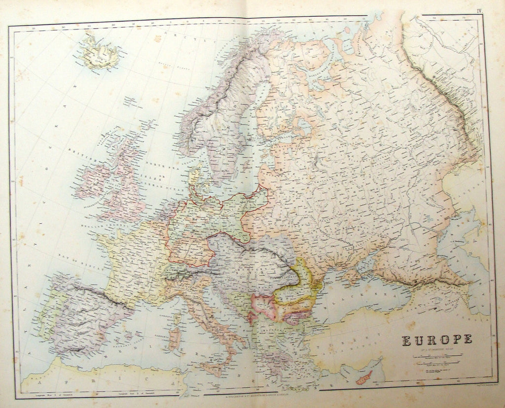 "Large Antique Map by G.H. Swanston - ""EUROPE"" - Coloured - 1879"