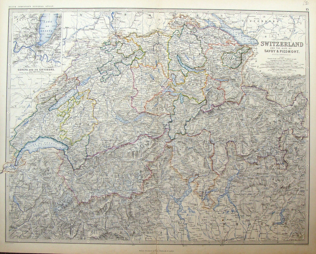 Large Antique Map by Johnston - SWITZERLAND & THE ALPS OF SAVOY & PIEDMONT - Coloured - 1861