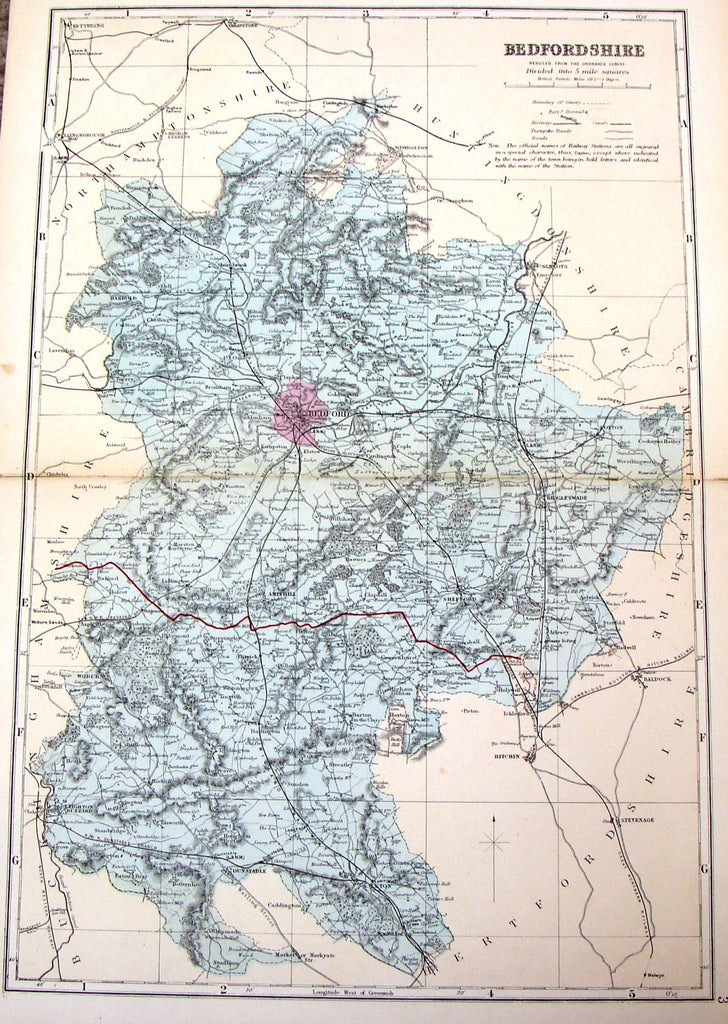 "Antique Map - Bacon's ""BEDFORDSHIRE REDUCED FROM THE ORDNANCE SURVEY"" - Chromolithograph - 1885"