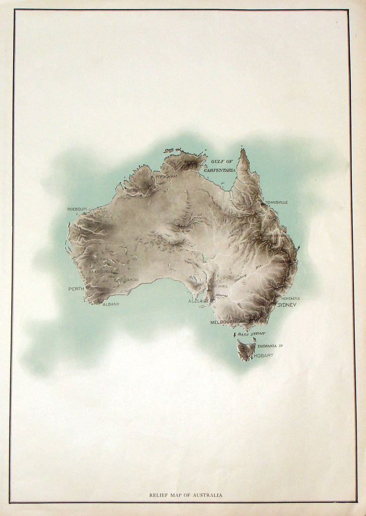 "Antique Map - ""RELIF MAP OF AUSTRALIA"" - Colored Lithograph - c1914"