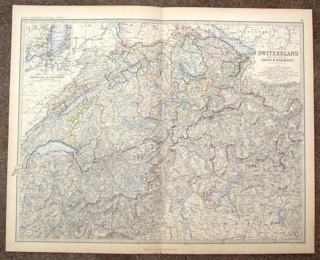 "Antique Map - ""SWITZERLAND AND THE ALPS OF SAVY & PIEDMONT"" by Johnson - Chromolithograph - 1861"