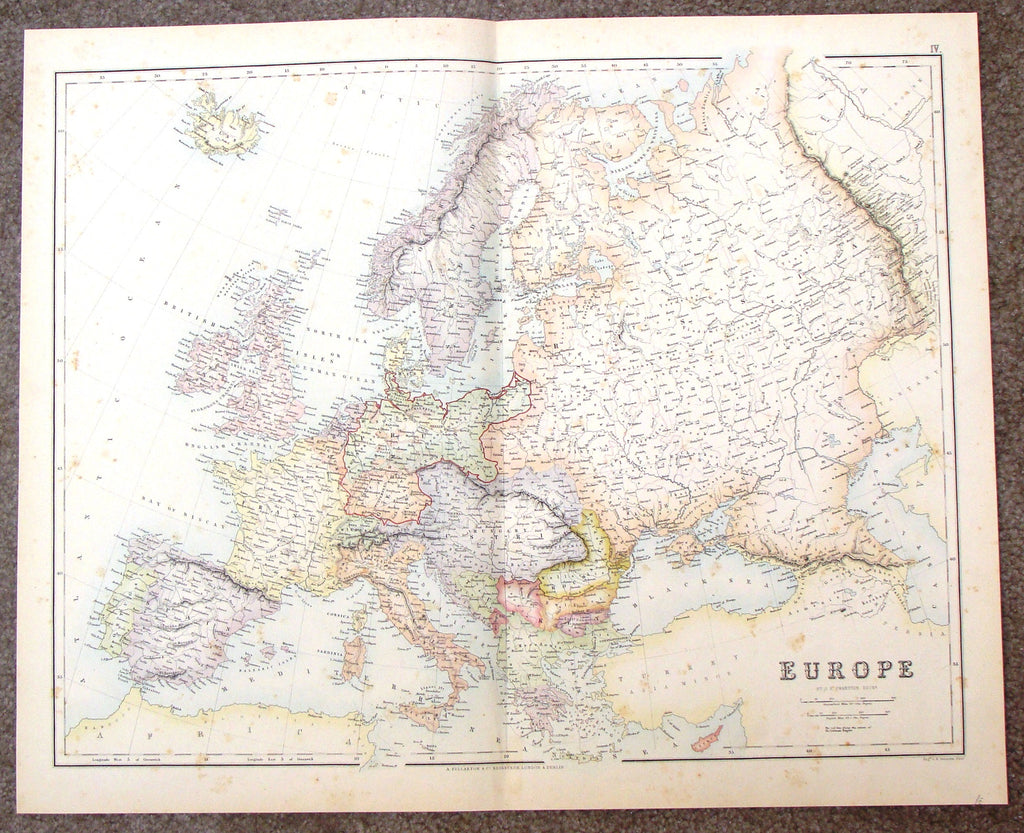 "Antique Map - ""EUROPE"" by Swanson - Hand-Colored Steel Engraving - 1860"