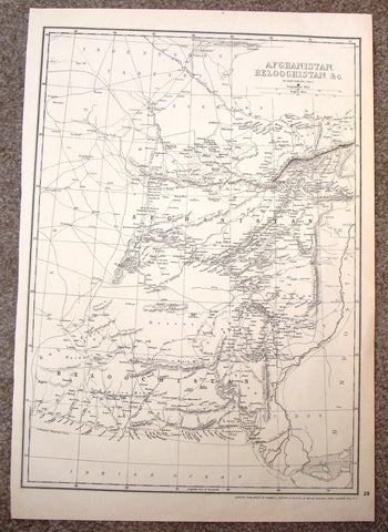 "Antique Map - ""AFGHANISTAN, BELOOCHISTAN & CO."" by Weller - Steel Engraving - 1862"