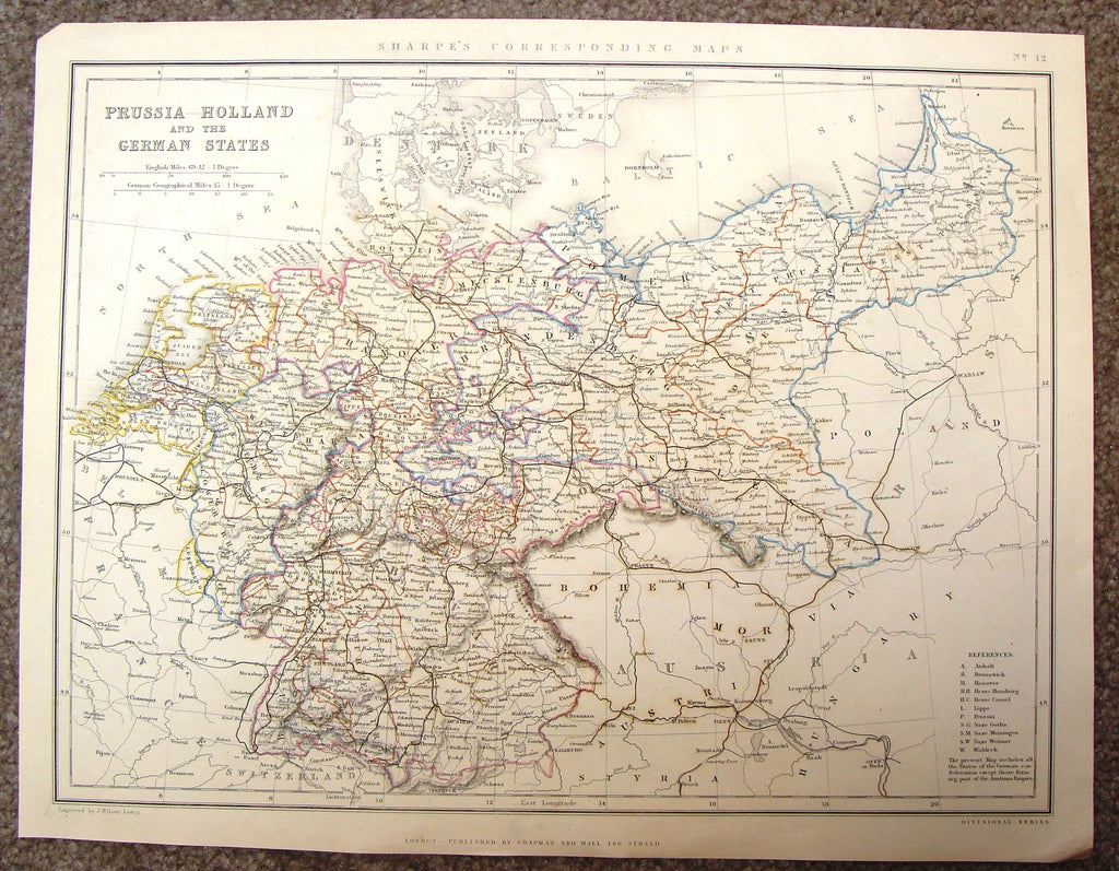 "Antique Map - ""PRUSSIA HOLLAND AND THE GERMAN STATES"" by Lowry - Hand-Colored Steel Engraving - 1860"