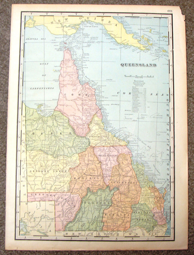 "Antique Map - ""MAP OF QUEENSLAND (AUSTRALIA)"" by Unknown - Chromolithograph - c1895"