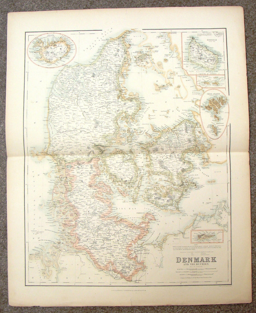 "Antique Map - ""DENMARK AND THE DUCHIES (ICELAND)"" by Swanson - H-Col Engraving - 1872"