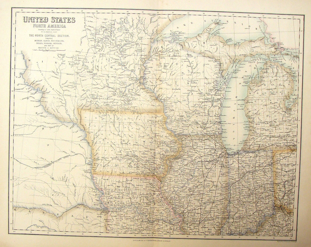 Antique Map - NORTHCENTRAL SECTION  by Swanson - H-Col Steel Engraving - 1872