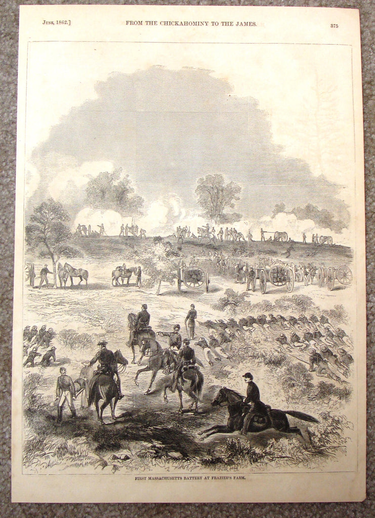 Harper's History - FIRST MASSACHUSETTS BATTERY AT FRAZIER'S FARM - Engraving - 1866