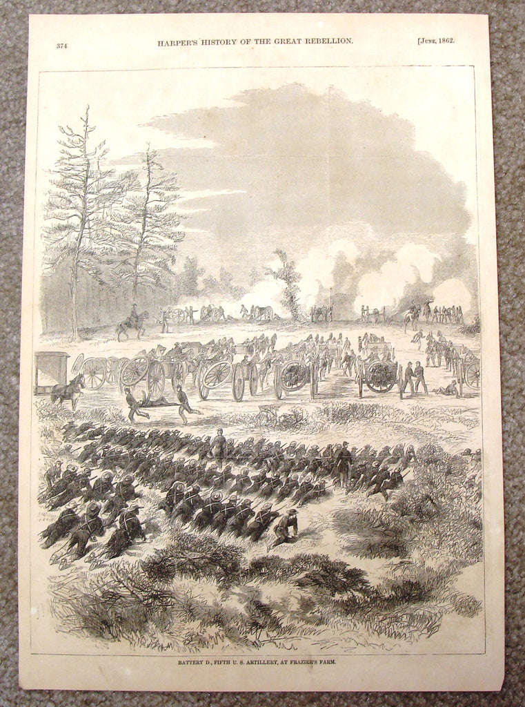 Harper's History - BATTERY D., FIFTH U.S. ARTILLERY, AT FRAZIER'S FARM -  Engraving - 1866