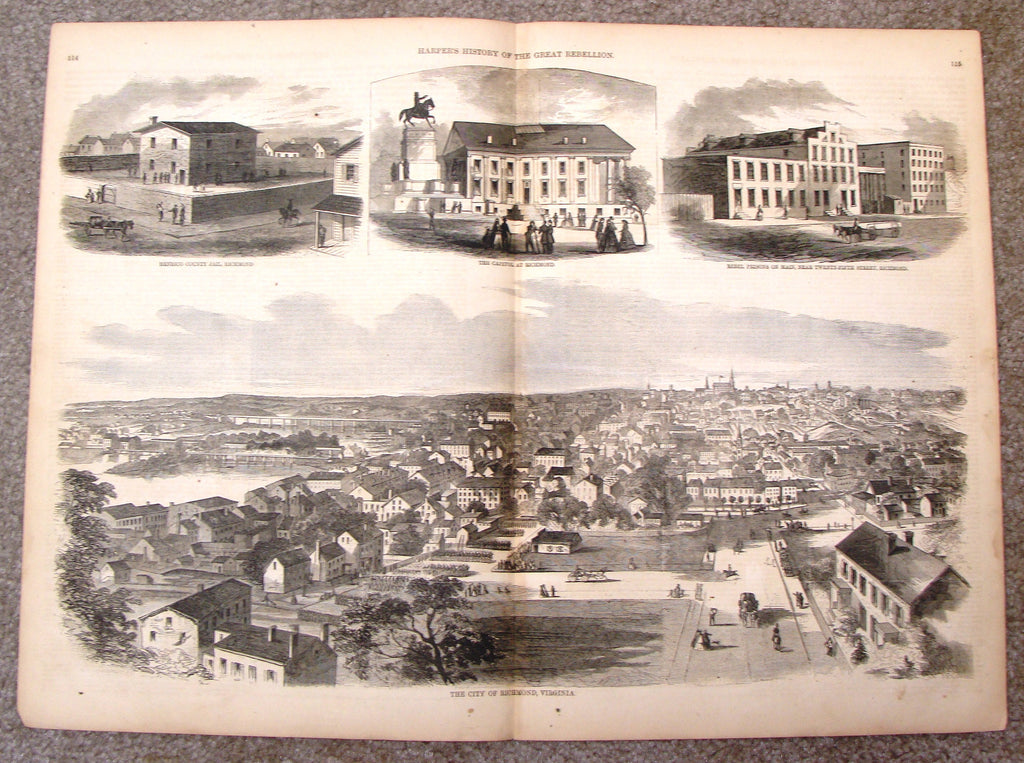 "Harper's Pictorial History - ""CITY OF RICHMOND, VIRGINIA"" -  Large Engraving - 1866"