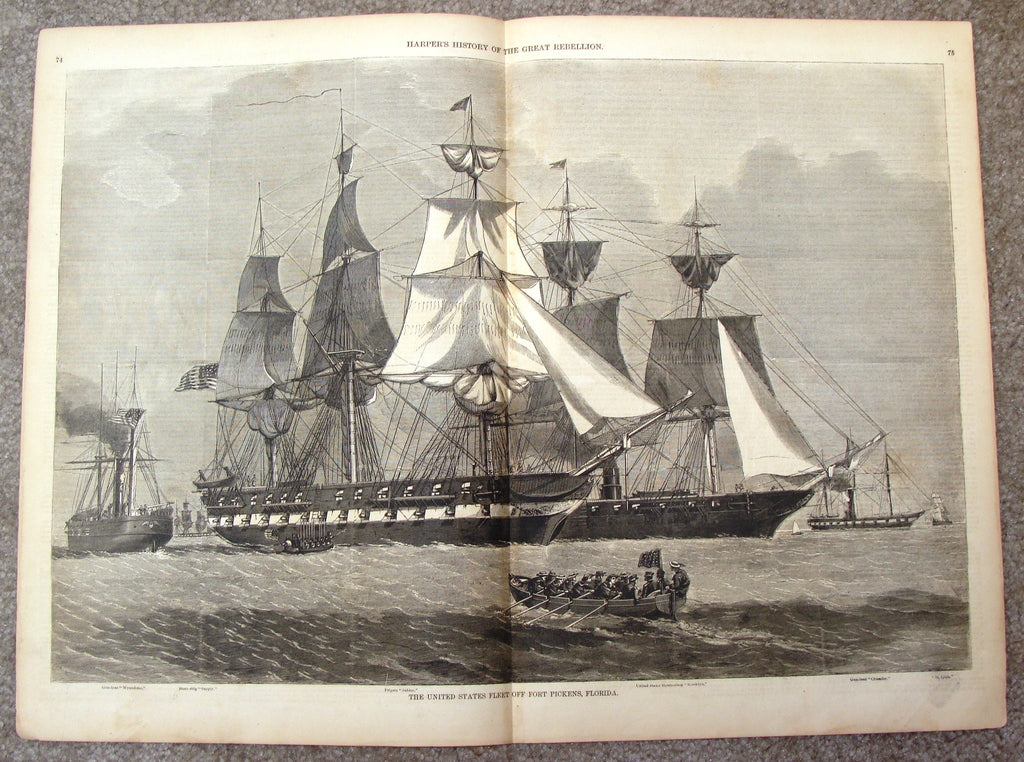 "Harper's Pictorial History - ""U.S. FLEET OFF FORT PICKENS, FLORIDA"" -  Large Engraving - 1866"