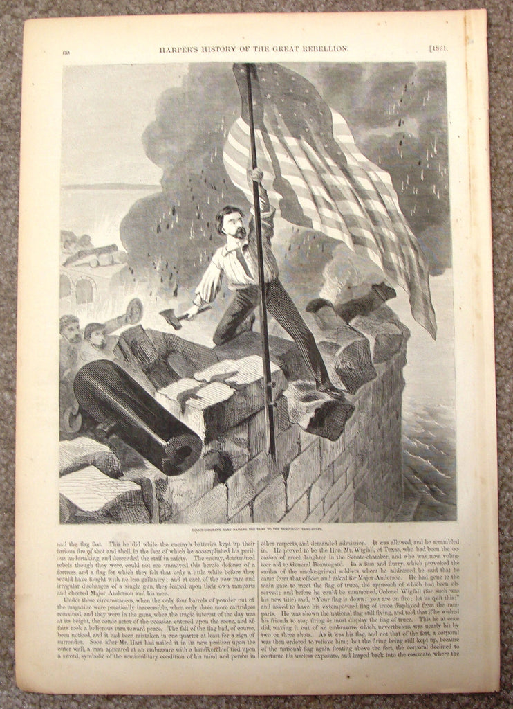 "Harper's Pictorial History - ""NAILING THE FLAG TO THE TEMPORARY FLAG STAFF"" -  Large Engraving - 1866"