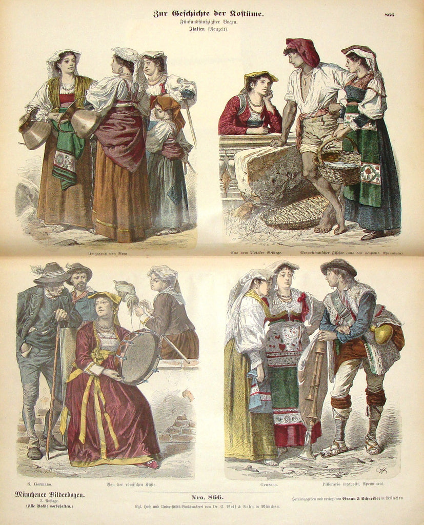 "Braun & Schneider's Costumes - ""ITALY (Number 866)"" - Chromo Lithograph - 1861"