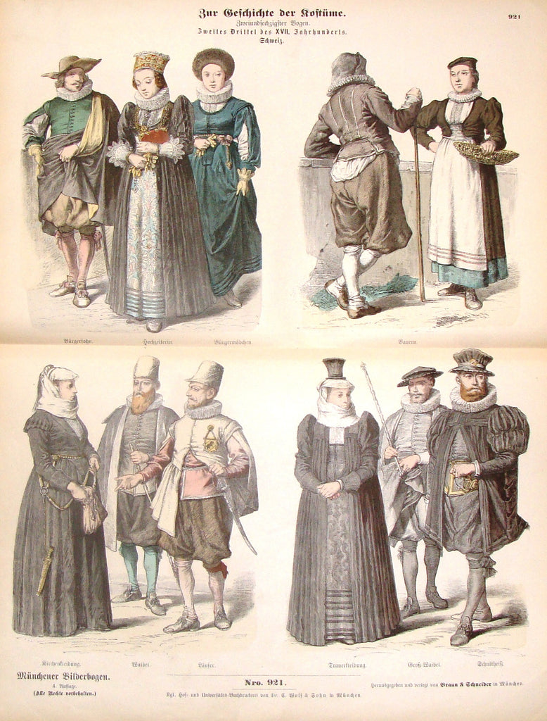 "Braun & Schneider's Costumes - ""Number 921"" - Chromo Lithograph - 1861"